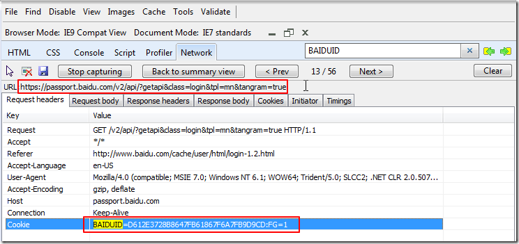 access getapi url require BAIDUID