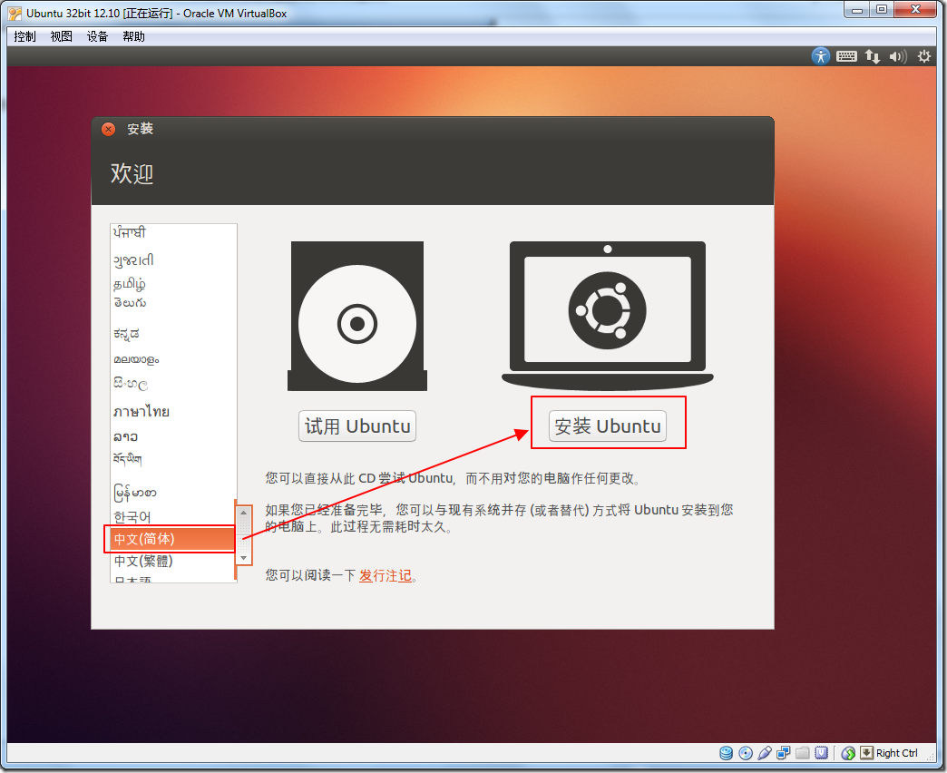 choose zh cn and install ubuntu