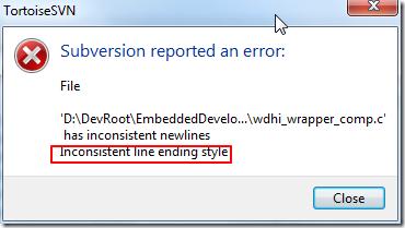 【已解决】TortoiseSVN commit出错:xxx.c has inconsistent newlines, Inconsistent line ending style