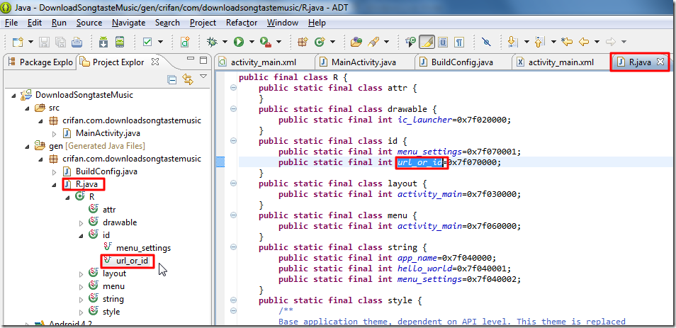new created id in R.java file