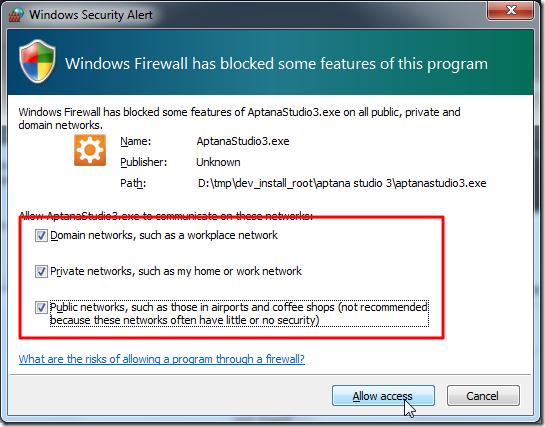 allow aptanastudio3 access net