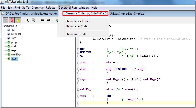 use antlrworks to generate code