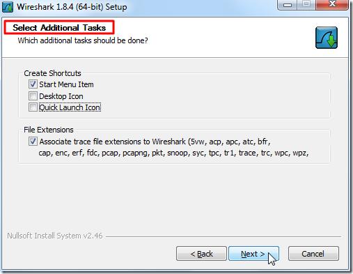 wireshark select additional tasks