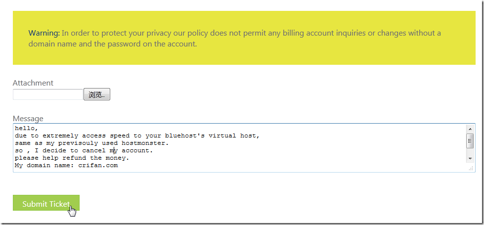 added message for refund