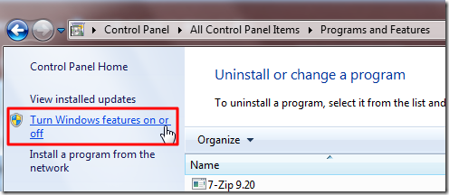 click turn windows features on or off