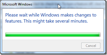 please wait while windows makes changes to features