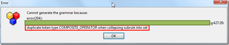 【已解决】Antlr语法编译出错:Cannot generate the grammar because, duplicate token type COMPOSITE_OPERATOR when collapsing subrule into set
