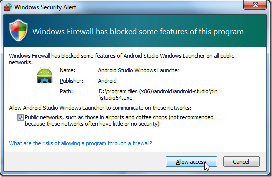 popup firewall ask for android studio windows launcher