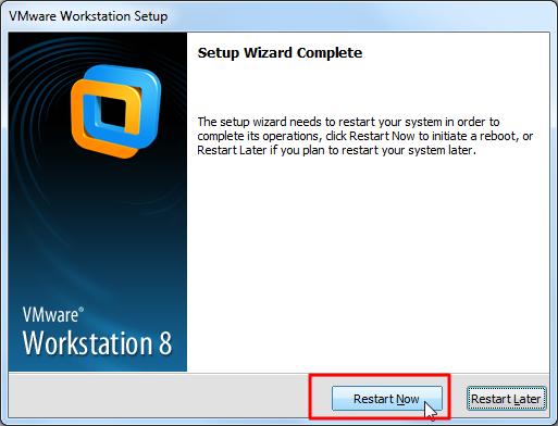 restart now to complete vmware install