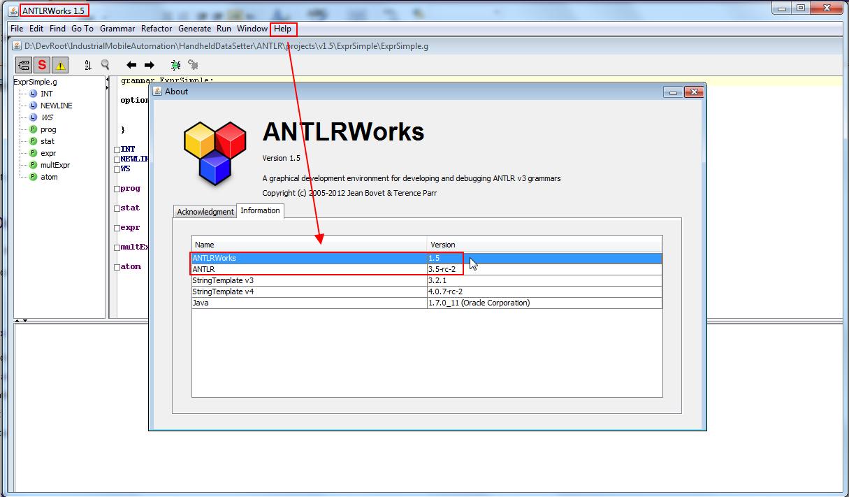 antlrworks 1.5rc2 ide
