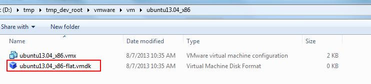 can see the ubuntu vmdk file