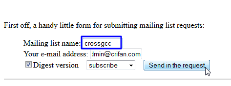 correct mailing list name to crossgcc