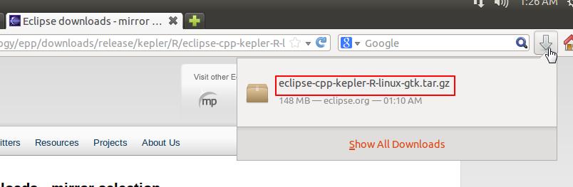 downloaded eclipse cpp kepler r linux gtk tar gz