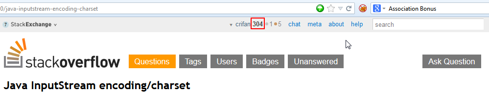 stackoverflow reputation become to 304