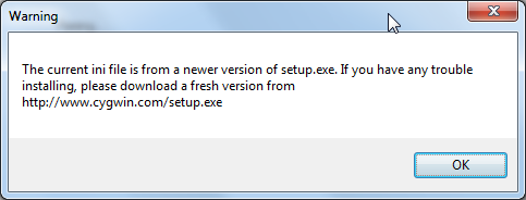 the current ini file is from a newer version of setup exe