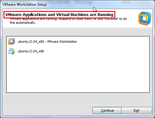 vmware applications and virtual machines are running
