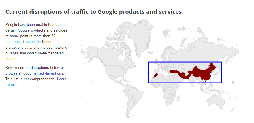 a line of red for discruption of google service