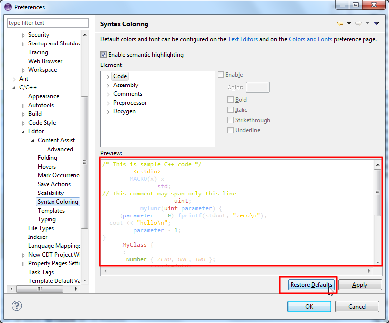 before restore default code is highlighted