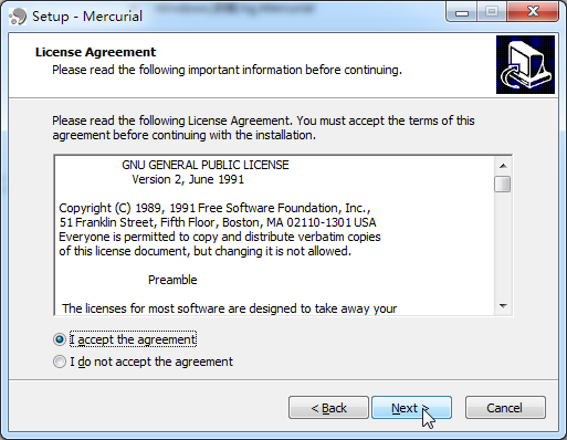 mercurial setup license agreement