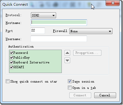 just out quick connect default is ssh2