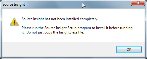 souce insight has not been installed completely