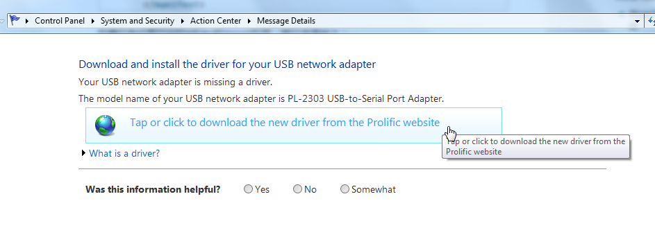 tap or click to download the new driver from the profilic website for pl-2302 usb-to-serial port adapter