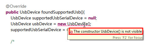 The constructor UsbDevice is not visible