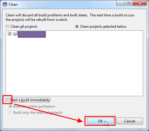 clean the selected android project