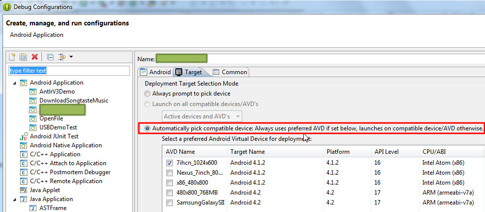 default is automatically pick compatible device use prefered avd