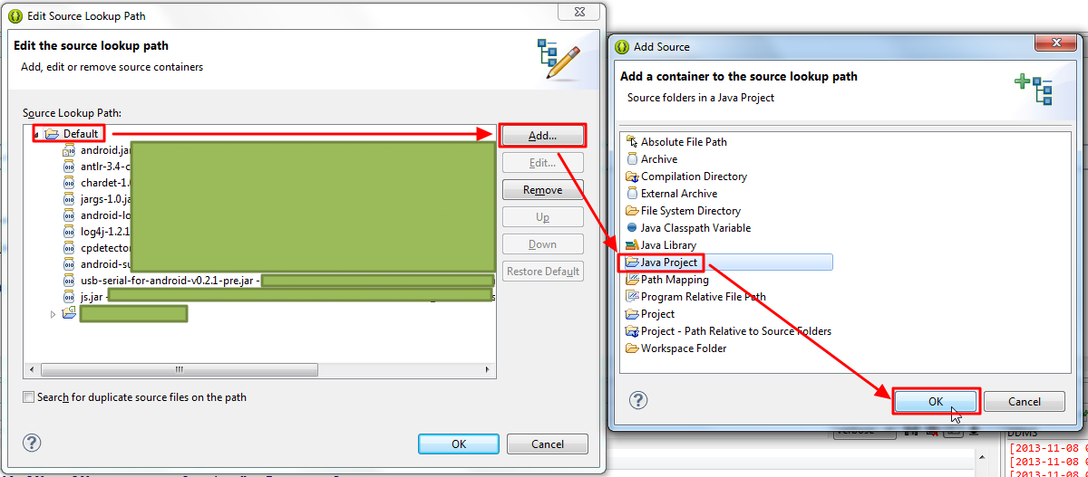 edit the source lookup path default add java project ok