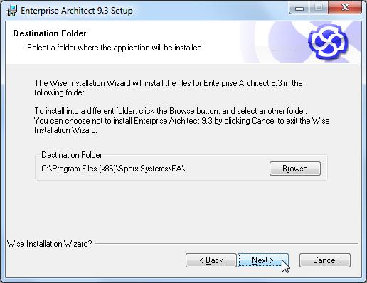 enterprise architect 9.3 setup destination folder
