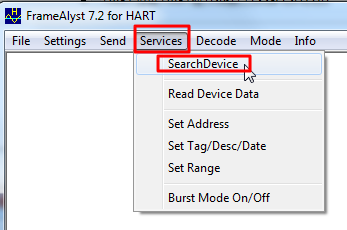 services searchdevice for alive hart devices
