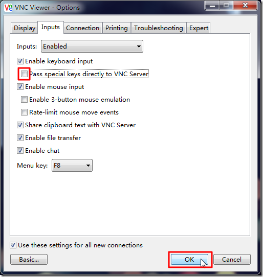 deselect send special to vnc server then ok