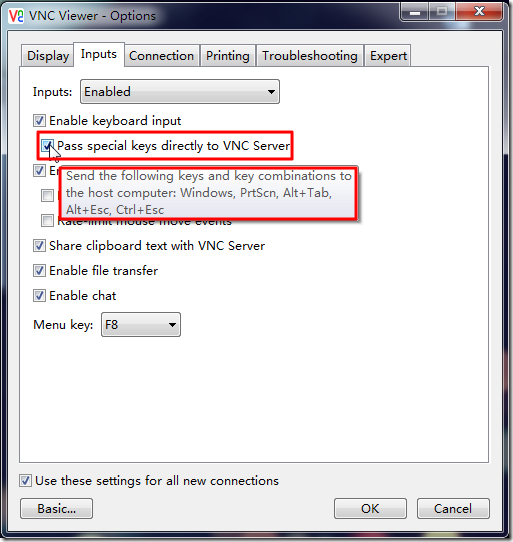 pass special keys directly to VNC Server include PrtScn