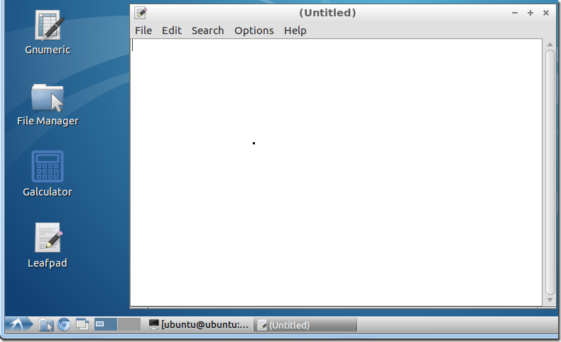 run leafpad with new file