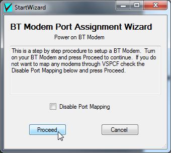 bt modem port assignment wizard proceed