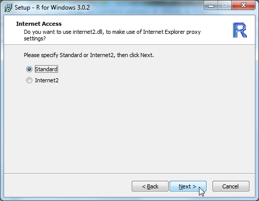 Setup R for Windows 3.0.2 internet access standard