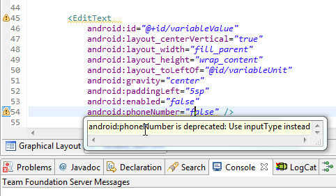 【已解决】Android中代码出现警告提示:android:phoneNumber is deprecated: Use inputType instead