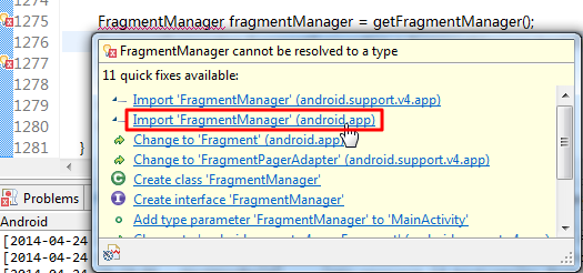 hint many choose Import FragmentManaer using android.app fix