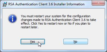 need restart after install RSA client