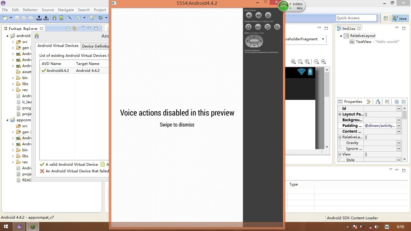 【已解决】Android模拟器中显示:Voice actions disabled in this preview, swipe to dismiss