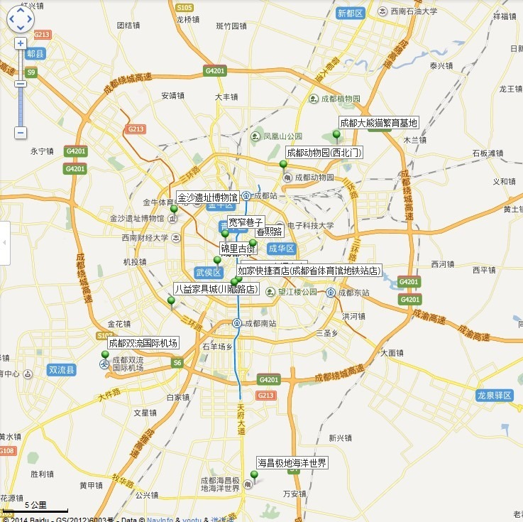 map containing all wanted locations of chengdu