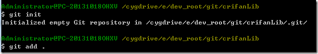 cygwin git init then add