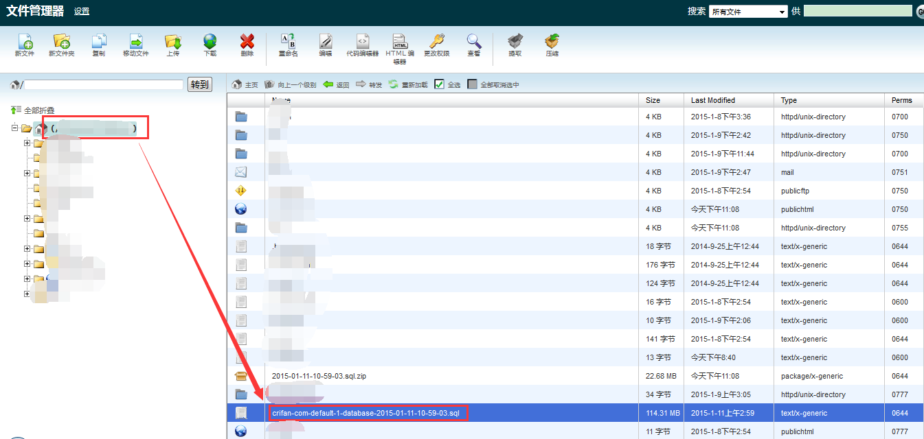 cpanel file manager extract got sql file