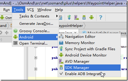 android studio Tools Android SDK Manager