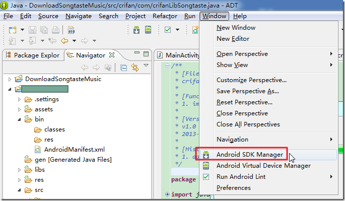 android window android sdk manager