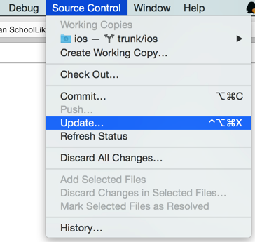 xcode source control update once