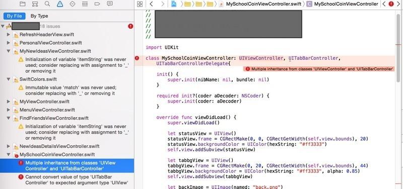error Multiple inheritance from classes UIViewController and UITabBarController