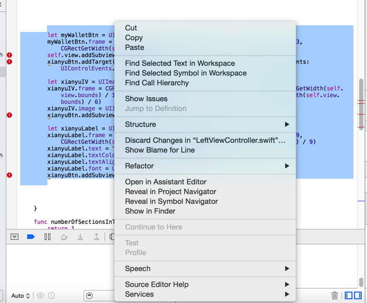 xcode 7 select code right click not find comment
