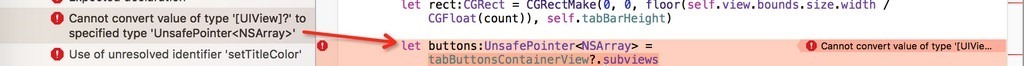 [已解决]Swift代码出错:Cannot convert value of type [UIView]? to specified type UnsafePointer<NSArray>
